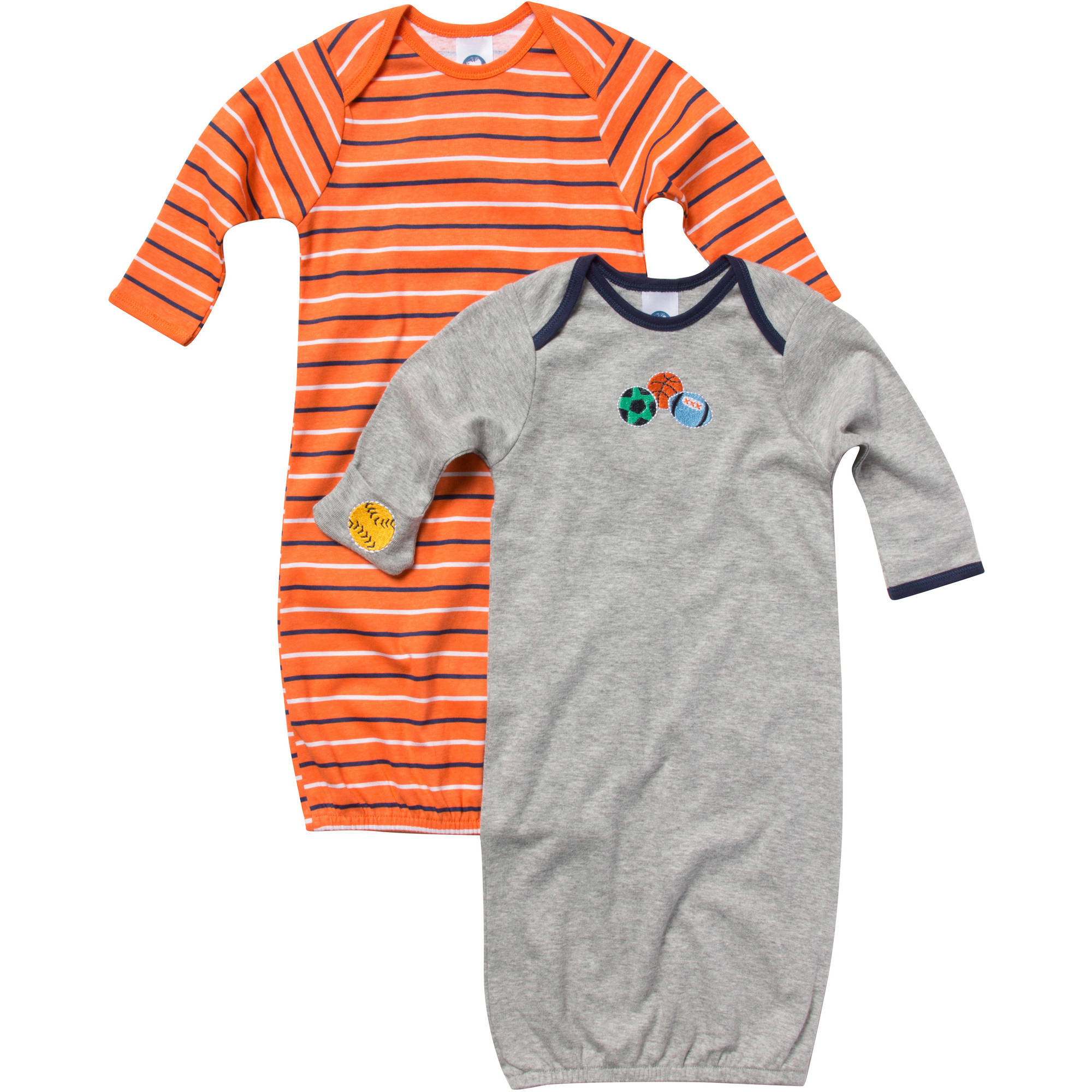 Gerber Newborn Baby Boy Sport Lap Shoulder Gown - 2 Pack