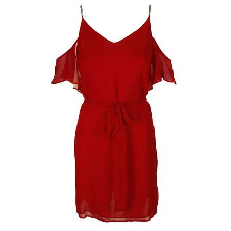 Embellished Neck Shift Dress (Michael Michael Kors Crimson Red Chain Embellished Cold-Shoulder Shift Dress)