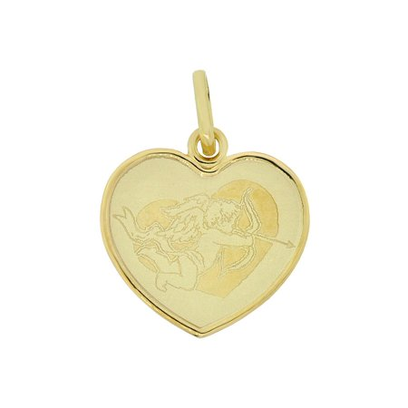 14k Yellow Gold, Light Weight Cupid Angel Laser Engraved Heart Pendant Charm