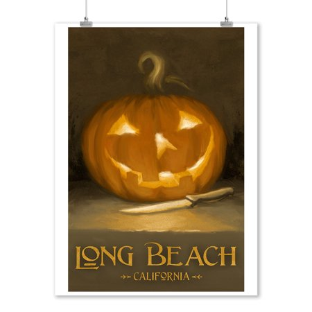 Long Beach, California - Jack-O-Lantern - Halloween - Oil Painting - Lantern Press Artwork (9x12 Art Print, Wall Decor Travel Poster)
