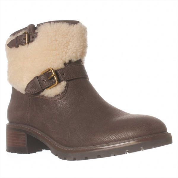 Womens Coach Gabriella Shearling Top Ankle Boots, Chestnu...