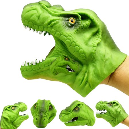 Mosunx Green dinosaur Animal Hand Puppet Baby Infant Kid Toy Plush Toy Silica Gel Spoof - Green Dinosaur