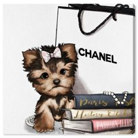 Runway Avenue Animals Wall Art Canvas Prints 'Fashion Book Yorkie Glam Custom' Dogs and Puppies - Brown, White