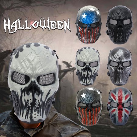 Elfeland Tactical Gear Airsoft Mask Overhead Skull Skeleton Safety Guard Face Protection Outdoor Paintball Hunting Cs War Game Combat Protect for Party Movie Props Sports Activity ()