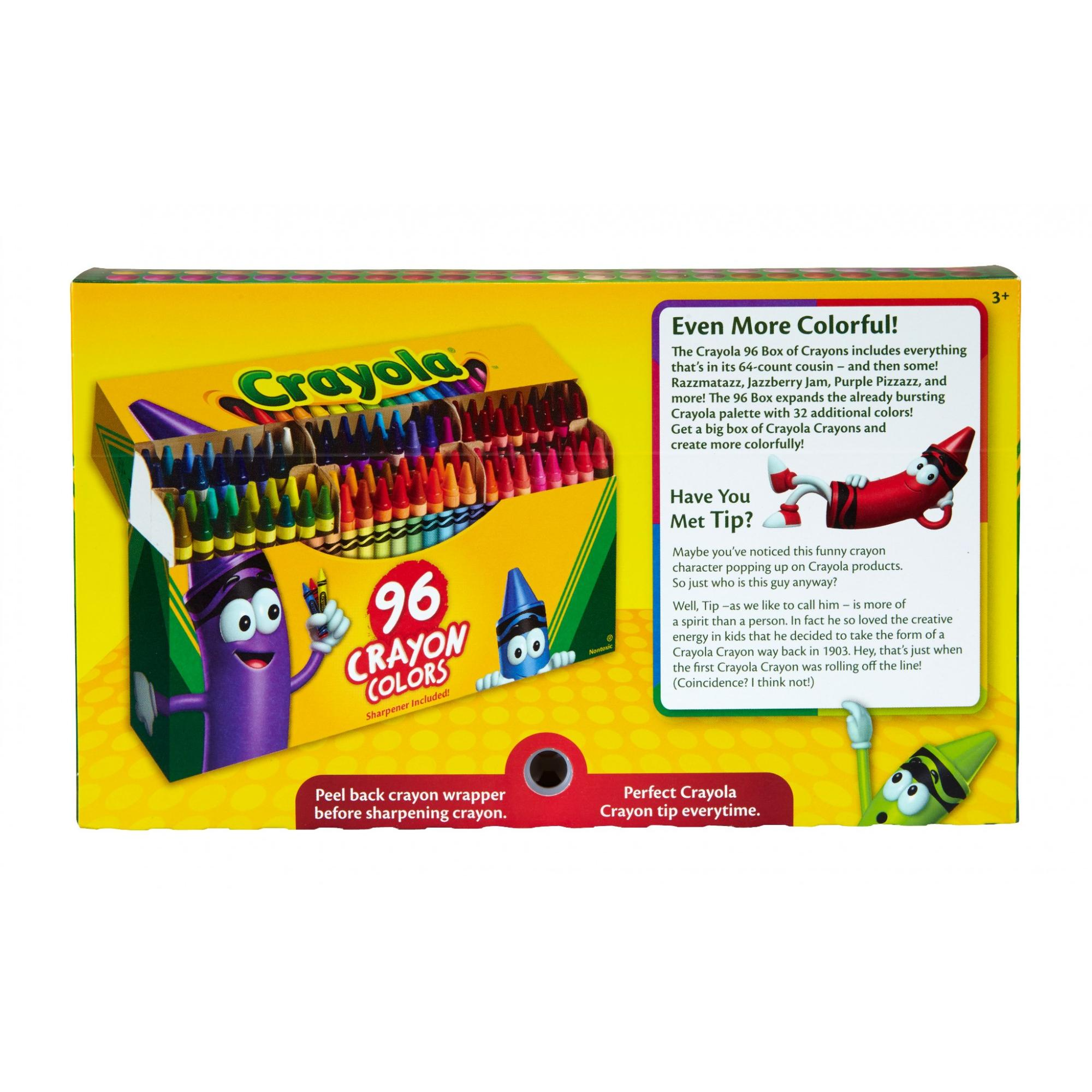 Gift for Kids Crayola Crayons with Built-In Sharpener 96 Count