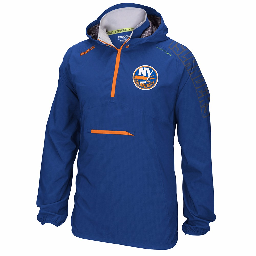 New York Islanders NHL Reebok Blue Center Ice Anorak Kinetic Fit Performance 1 4 Zip Pullover Jacket For Men by Reebok