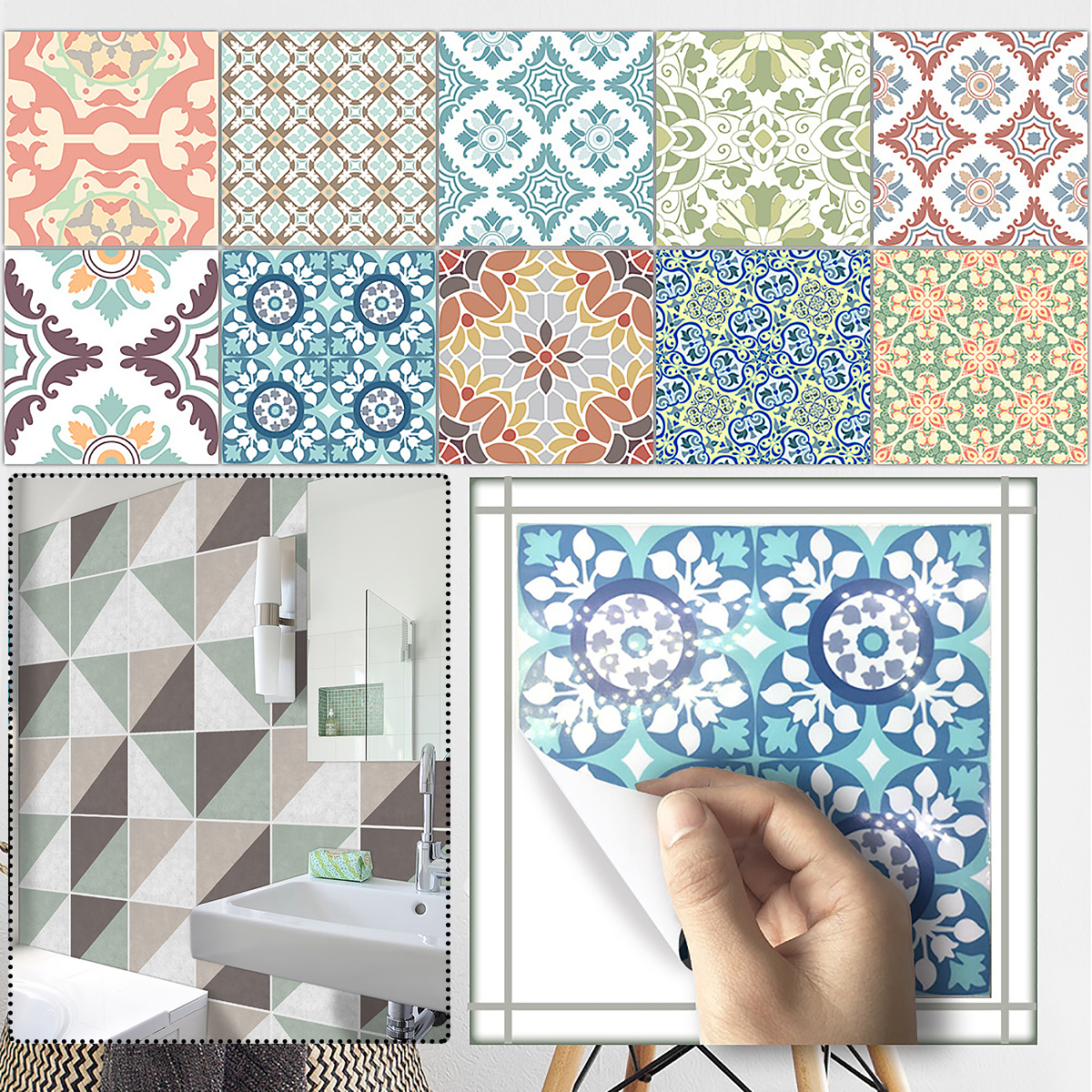 Moroccan Style Tile Wall Stickers Kitchen Bathroom Self-Adhesive Mosaic Decor