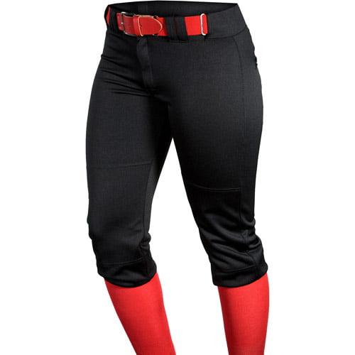 Louisville Slugger Women's Slugger Fast Pitch OKC Low-Rise Pants with Belt Loops, Black