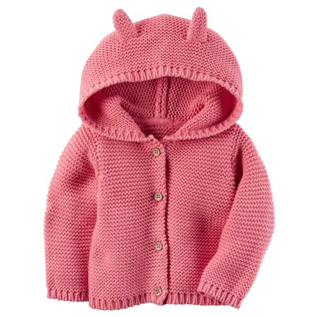 - Carters Baby Girls Hooded Cardigan Pink