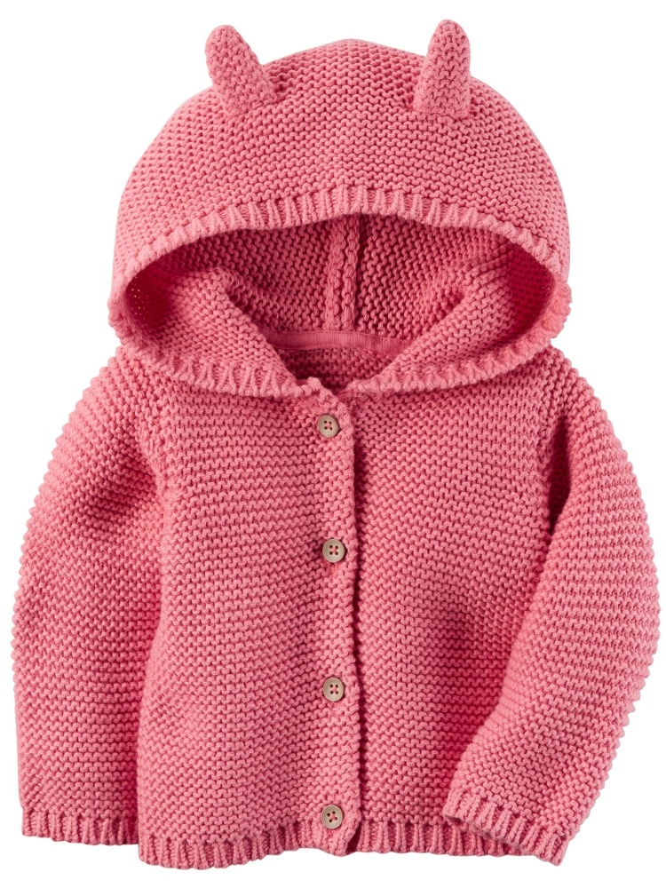 Carters Baby Girls Hooded Cardigan Pink