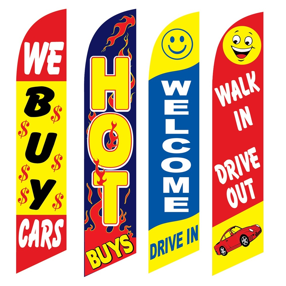 4 Advertising Swooper Flags We Buy Cars Hot Buys Welcome Drive In Walk In Drive Out