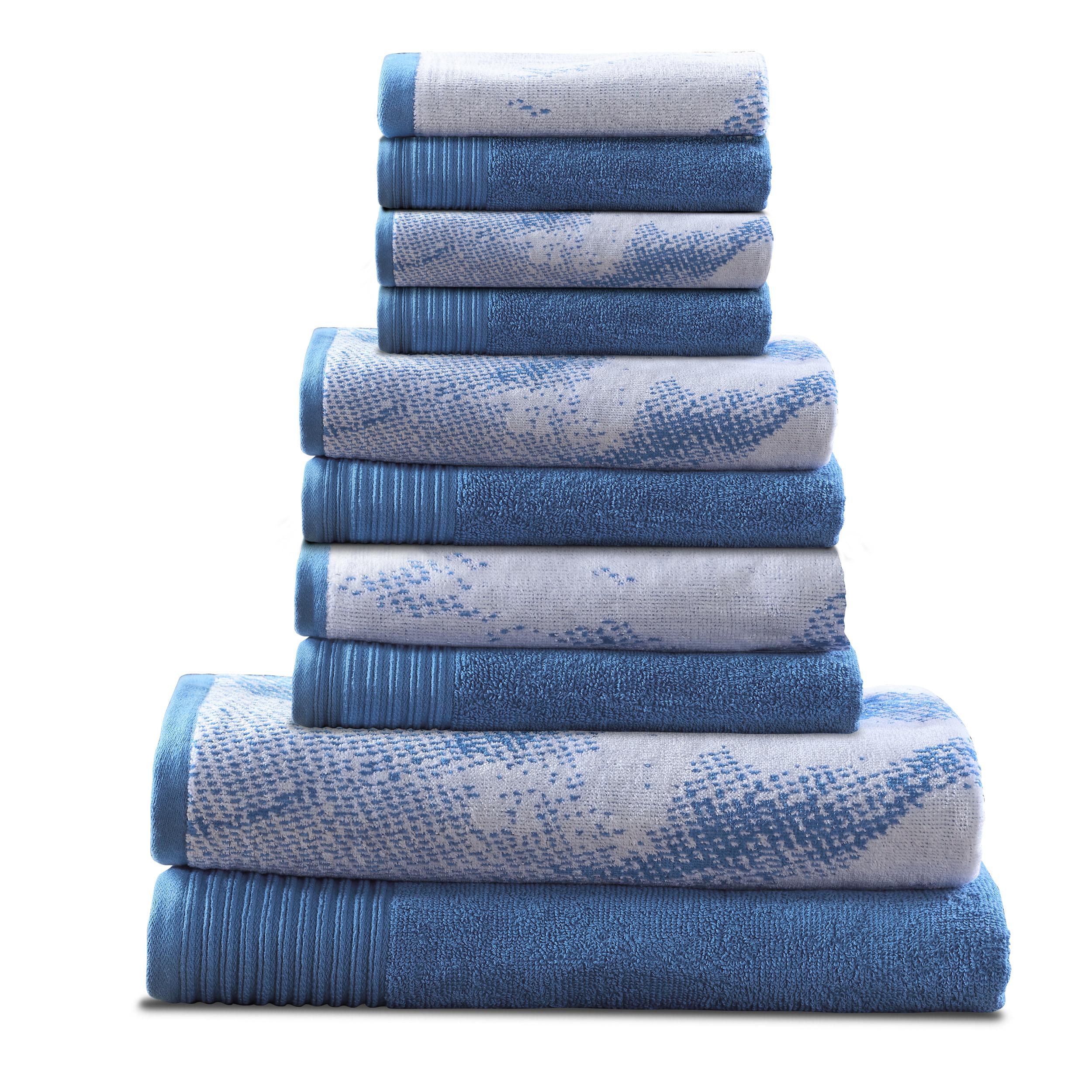10 PC 100% Cotton Marble Effect Towel Set