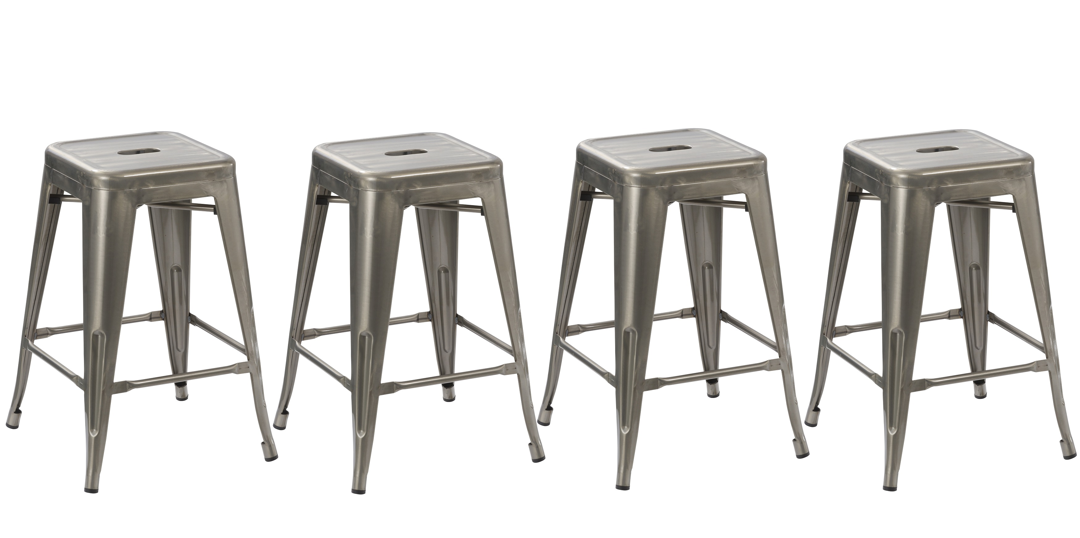 BTEXPERT® 24 Inch Industrial Vintage Antique Style Distressed Metal Brush  Modern Dining Counter Bar Stool   (Set Of 4 Barstool)   Walmart.com