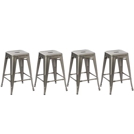Modern Style Bar - BTEXPERT 24-inch Industrial Vintage Antique Style Distressed Metal Brush Modern Dining Counter Bar Stool - (Set of 4 barstool)