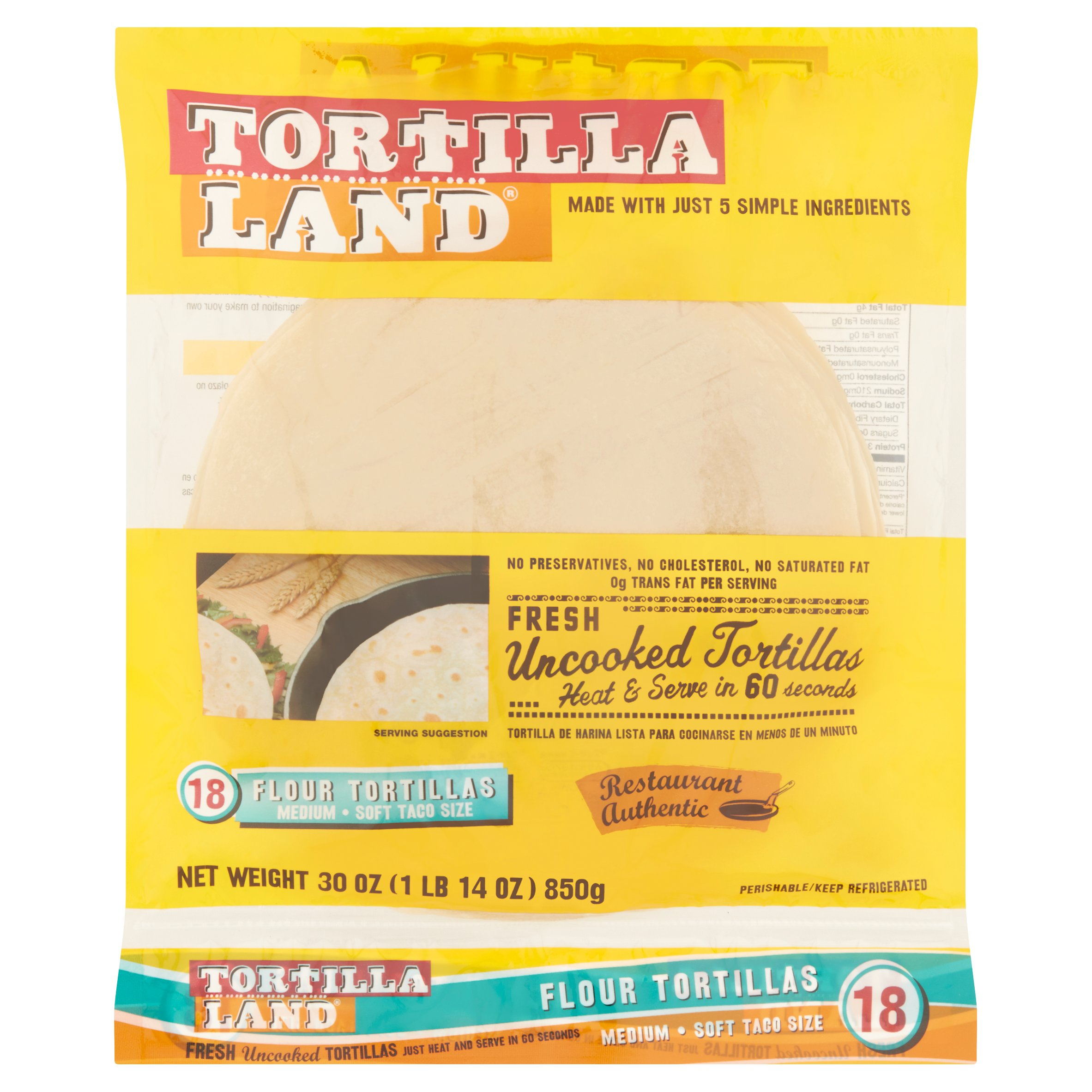 Tortilla Land Medium Fresh Uncooked Flour Tortillas, 18 count, 30 oz