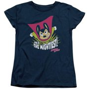 Trevco Mighty Mouse-The Mightiest - Short Sleeve Womens Tee - Navy, Small