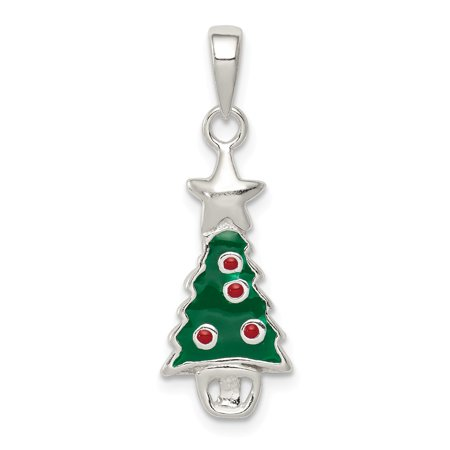 Sterling Silver Three Stars - Mireval Sterling Silver Enameled Christmas Tree with Star Pendant (approximately 25 x 10 mm)