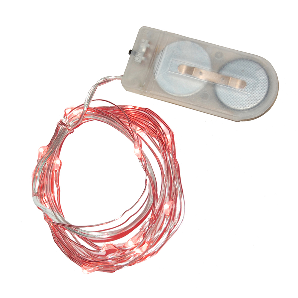 3 Battery Operated Bright Red 20 LED Micro Rice Christmas Lights - Silver Wire