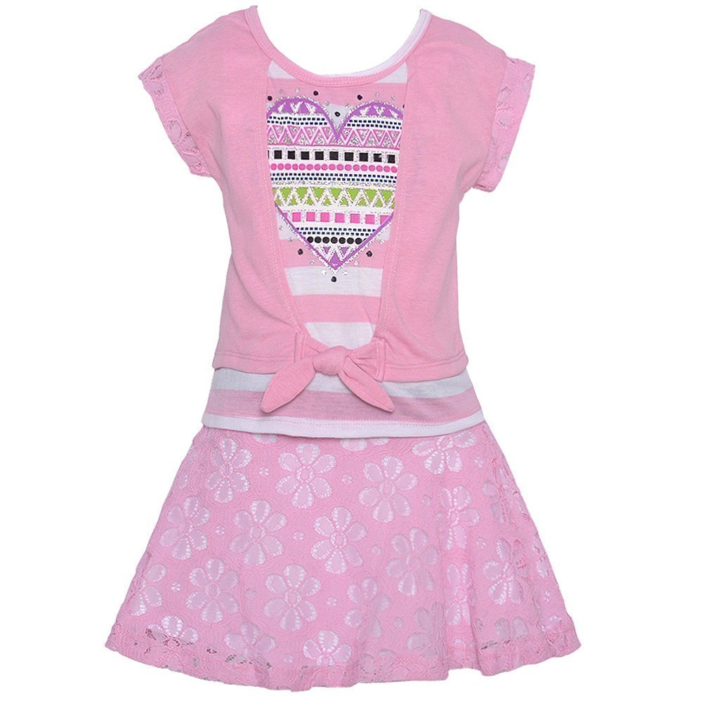 Little Girls Pink Stripe Applique Lace Skirt Cardigan Top Outfit 4