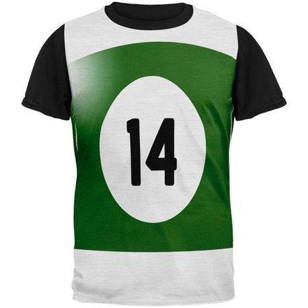 Halloween Billiard Pool Ball Fourteen Costume Mens Black Back T Shirt