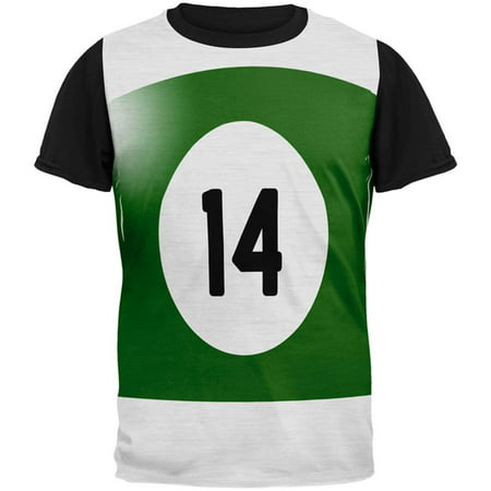 Halloween Billiard Pool Ball Fourteen Costume Mens Black Back T Shirt - Pool Halloween