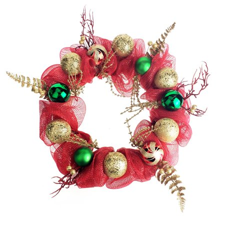 Decorated Mesh Ribbon Glitter Twigs Christmas Wreath, Red/Green, 21-Inch ()