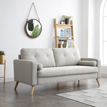 Alvin Collection Modern Mid-Century Button Tufted Polyester Sofa with Accent Pillows