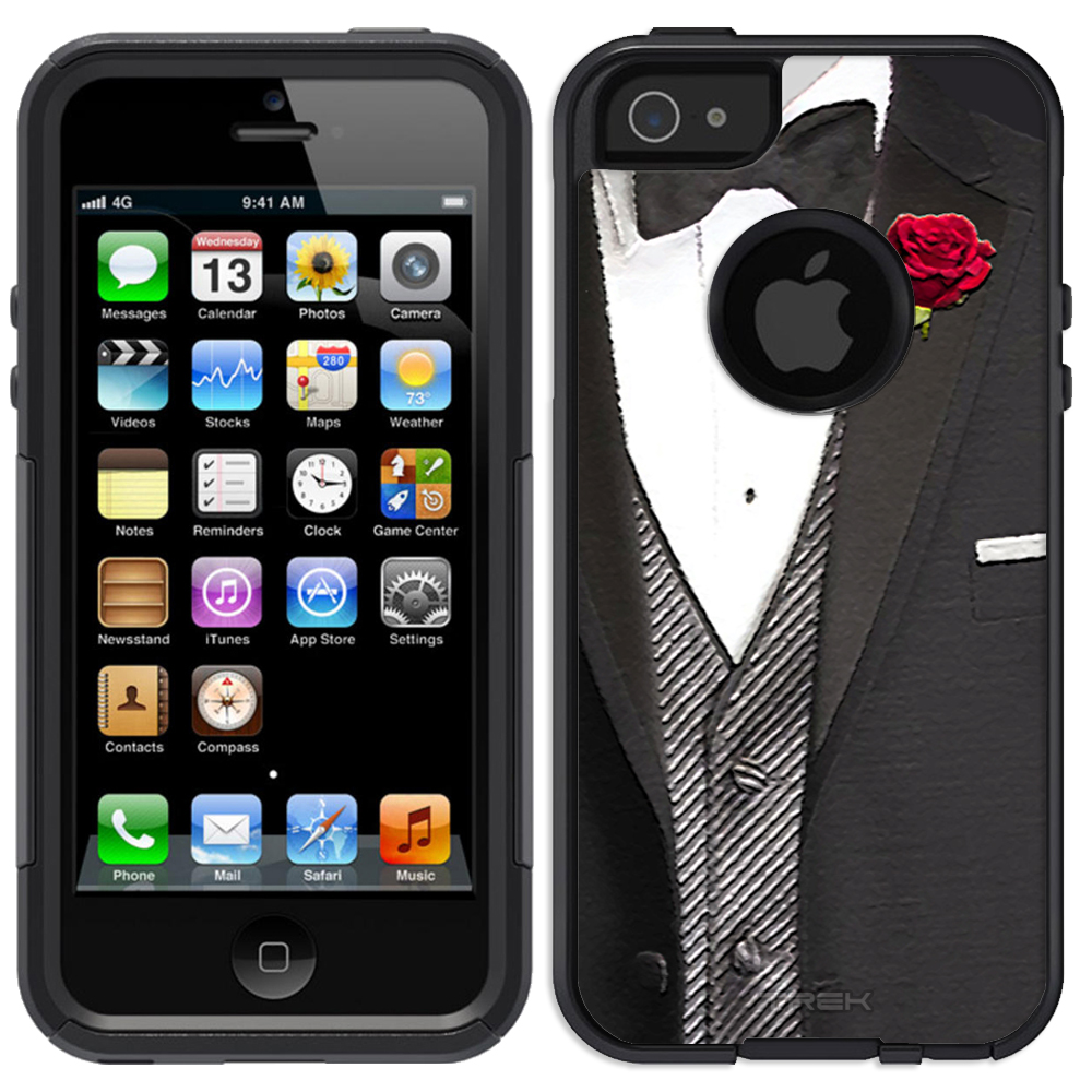SKIN DECAL FOR OtterBox Commuter Apple iPhone SE Case - Red Roes Tux DECAL, NOT A CASE