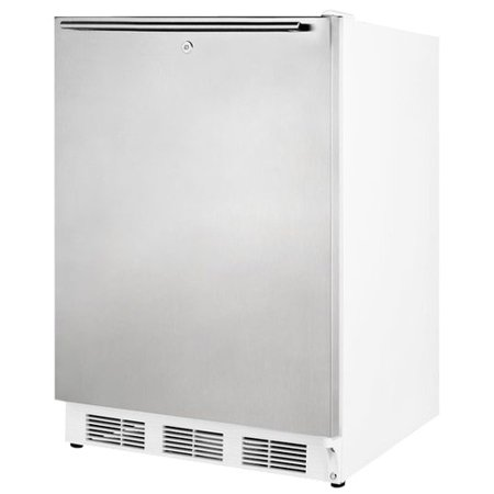 """AL650LSSHH 24"""" 5.1 Cu. Ft. Capacity Freestanding Refrigerator-Freezer with Lock  Dual Evaporator Cooling  Cycle Defrost  Adjustable Shelves and Fully Finished Cabinet in Stainless Steel"""