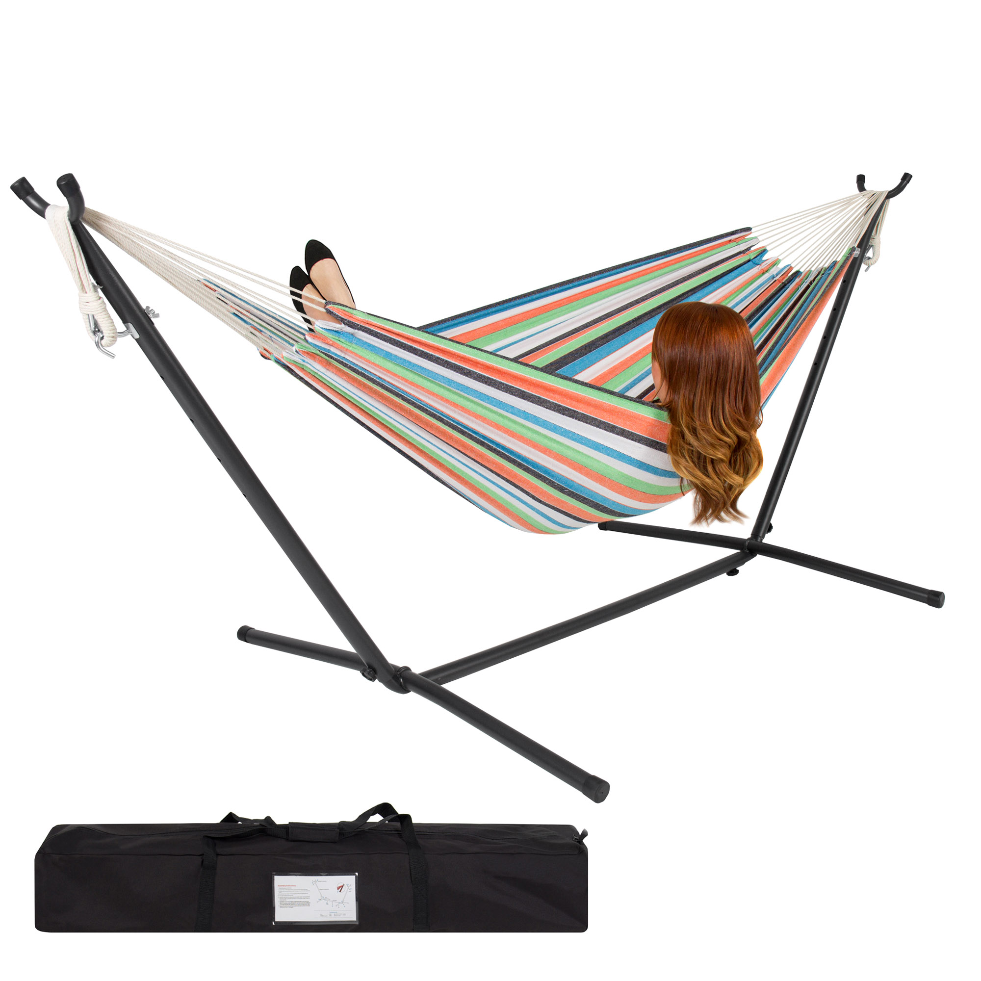 BCP Double Hammock Set w  Steel Stand, Carrying Case for Indoor and Outdoor by Best Choice Products