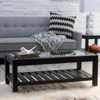 Finley Home Sutton Glass Top Coffee Table with Slat Bottom