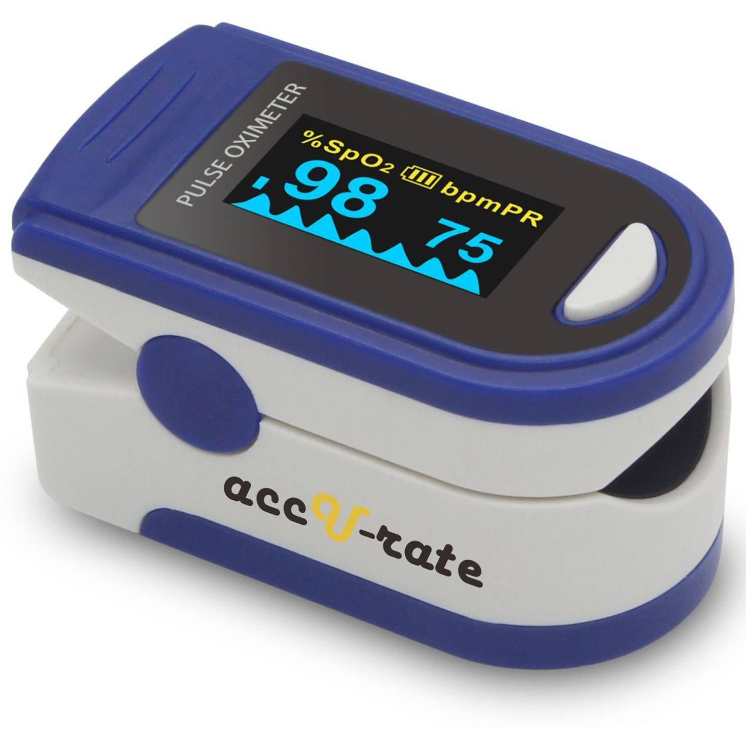 Image of Acc U Rate Pro Series Deluxe CMS 500D Fingertip Pulse Oximeter Blood Oxygen Saturation Monitor with Plethysmograph Feature, Silicon Cover, Lanyard and Batteries, Sapphire Blue