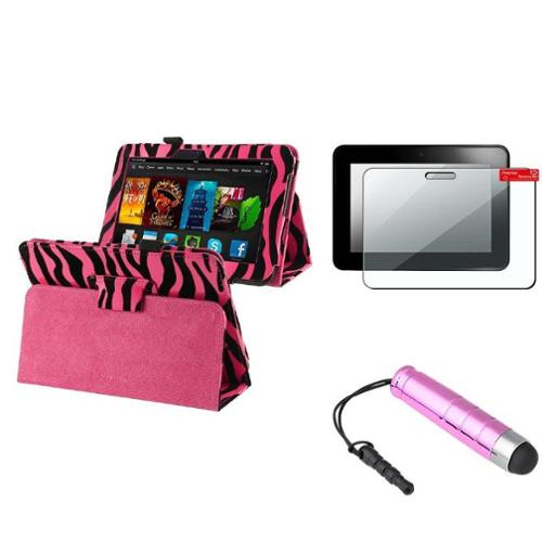 "Insten Hot Pink Zebra Stand Leather Case+Guard/Stylus for Amazon Kindle Fire HD 7"" 2012"