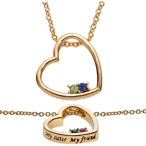 "Personalized Women's Gold-Tone ""Sisters & Friends"" Birthstone Heart Pendant"