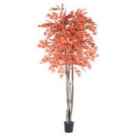Vickerman Artificial Orange Maple Deluxe Silk Tree with Container