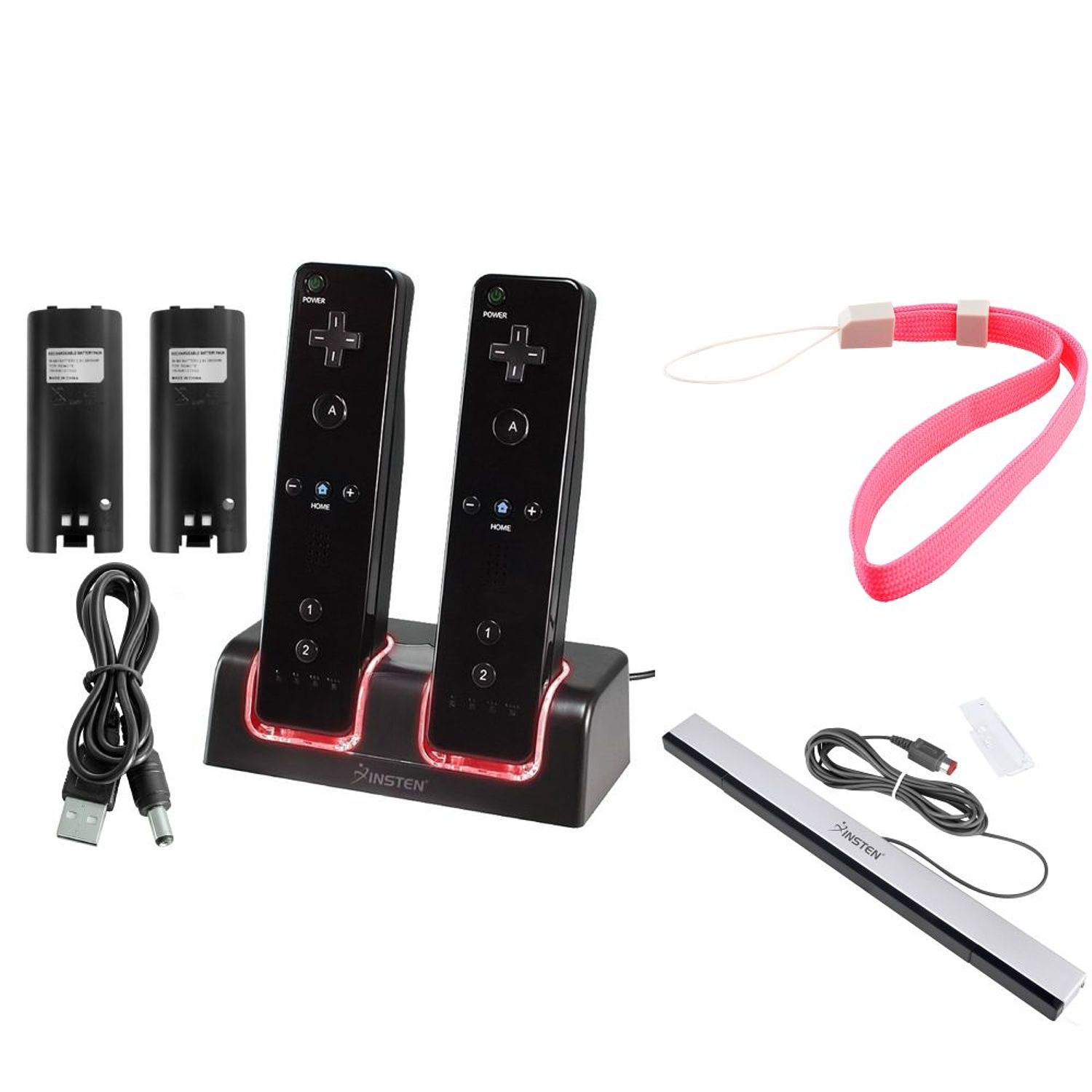 Insten Dual Remote Controller Charger Station Docking with 2-pack 2800mah Batteries + Wired Sensor Bar For Nintendo Wii / Wii U