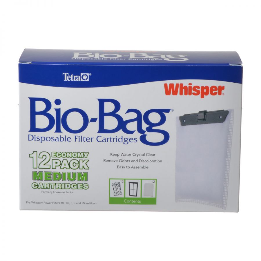 Tetra Bio-Bag Disposable Filter Cartridges Medium - For Whisper 10, 10i, E, J & Micro Power Filters (12 Pack) - Pack of 2