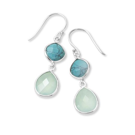 Sterling Silver Stabilized Turquoise and Chalcedony Drop Earrings