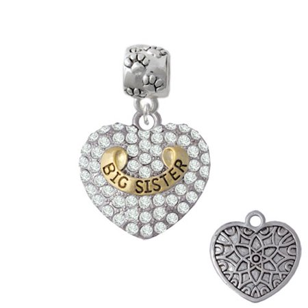 Gold Tone Big Sister Rock on Clear Crystal Heart - Paw Print Charm -