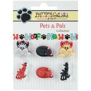 Buttons Galore Pets & Pals 6/Pkg-Cool Cats