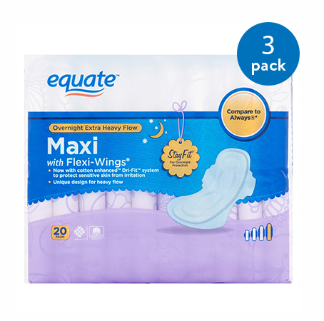 (3 Pack) Equate Overnight Maxi Pads with Flexi-Wings, Extra-Heavy, 20 Ct