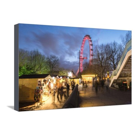 Christmas Market in Jubilee Gardens, with the London Eye at Night, South Bank, London, England Stretched Canvas Print Wall Art By Matthew Williams-Ellis ()