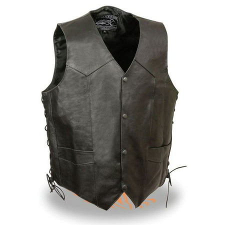 Vintage Black Leather Vest (Milwaukee Event Mens Side Lace Leather Vest w/Indian Head Black )