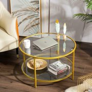 Home Office Glass Coffee Table Round w/ Shelf Leg Living Room Furniture Gold US