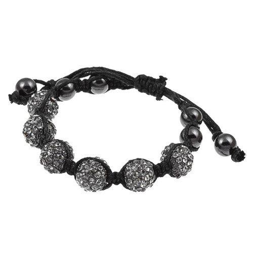 Zirconmania Pave Black Diamond Crystal Beaded Macrame Adjustable Bracelet