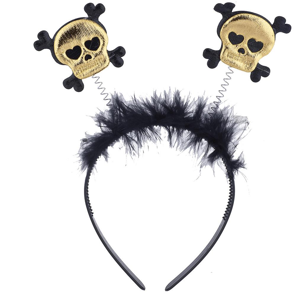 Lux Accessories Black Gold Halloween Costume Skeleton Bopper Fuzzy Headband