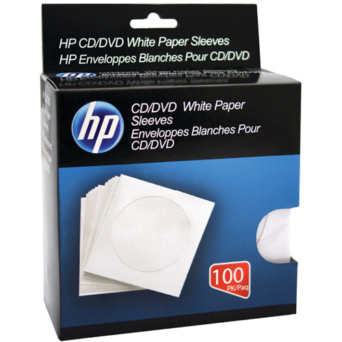 HP HPWS100RB CD/DVD Storage Sleeves, 100pk, White