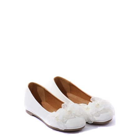 Kids Dream White Organza Flower Ballet Flats Girl Dress Shoes 4-10](Flats For Girls)