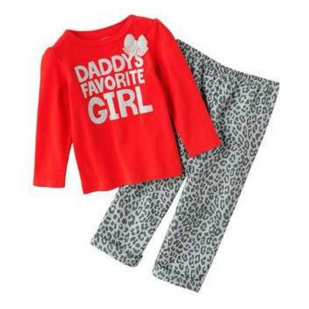 Red And Cheetah Outfits (Carter Infant Toddler Girl Leopard Print Set Cheetah Pants Daddys Girl)