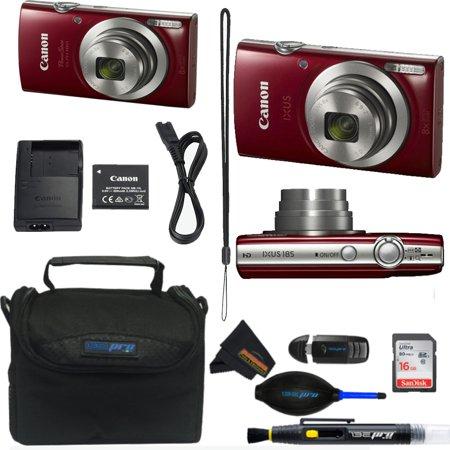 Canon Powershot Ixus 185 / ELPH 180 20MP Compact Digital Camera Red + Buzz-Photo Essential Kit